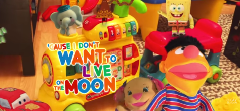 "screen shot from Dave Werner's cover of Sesame Street's ""I Don't Want to Live on the Moon"""