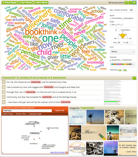 Word Swift example using the text from Lois Lowry's Newbery acceptance speech for The Giver