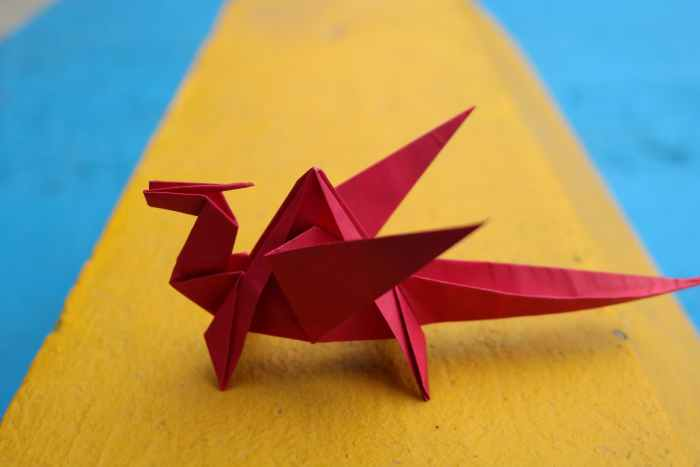 red origami paper