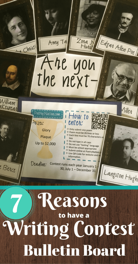Seven great reasons high school teachers should have writing contest bulletin boards in their classrooms. Includes link to list of contests.