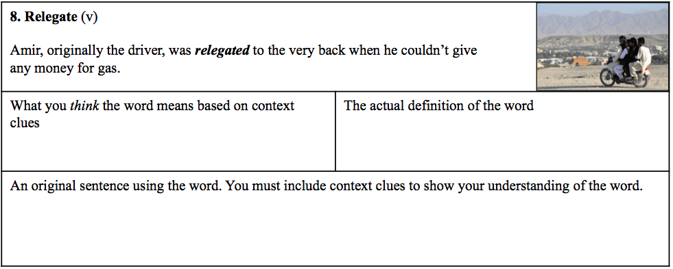 Vocabulary worksheet from Engagingandeffective.com
