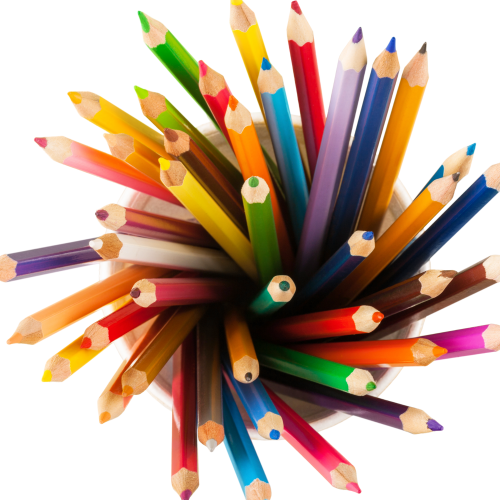 Image of colored pencils for coloring in science class