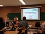 Cathy Evins and Barbara Gonzalez present their plans for college algebra during SSI 2014.