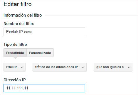 Filtro para excluir tu IP