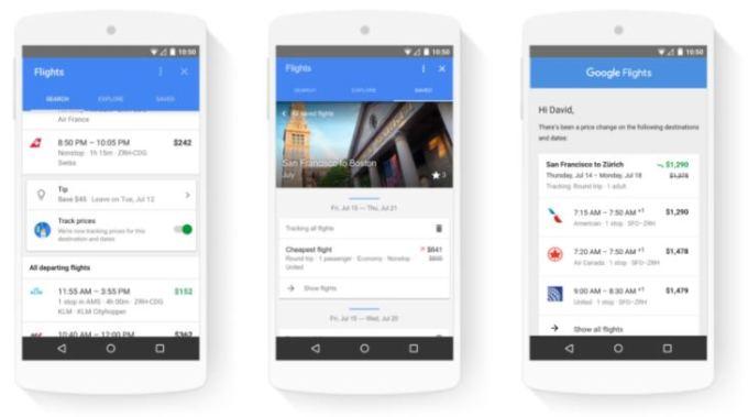Búsqueda de alojamiento y vuelos en Google