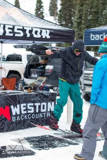 Anton Kress testing the flex on the Weston Range split.