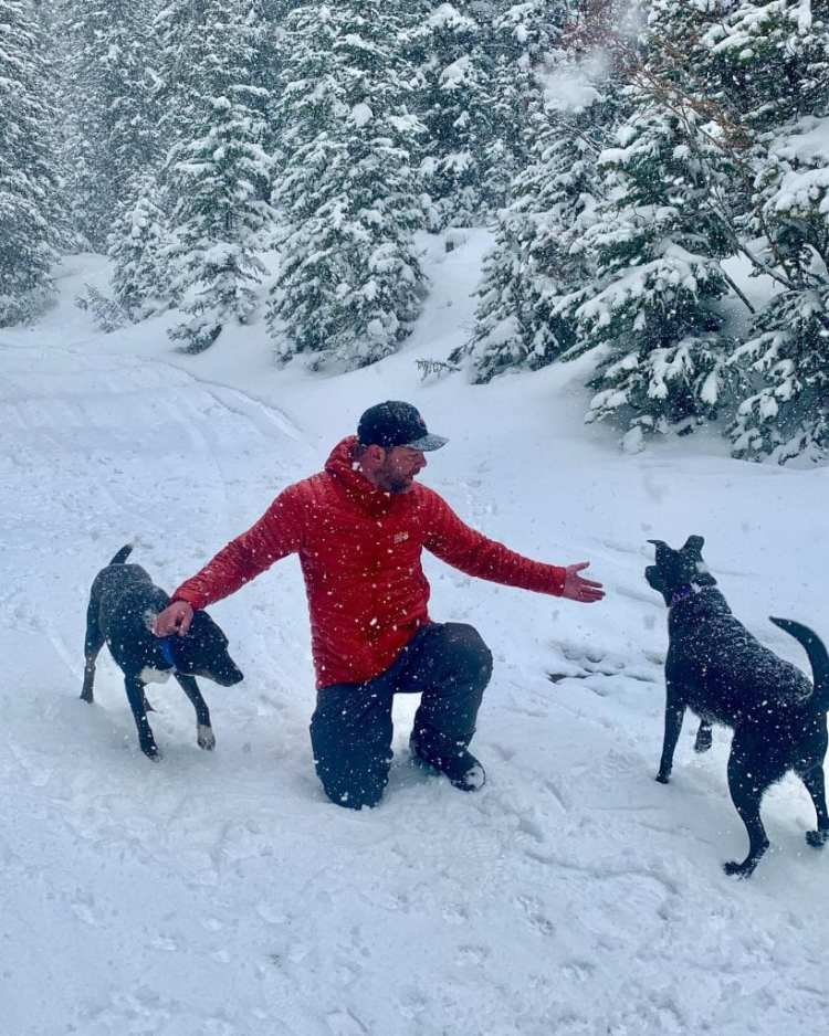 Engearment Director of Stoke, Sean, and his adventure dogs Riley and Chloe.