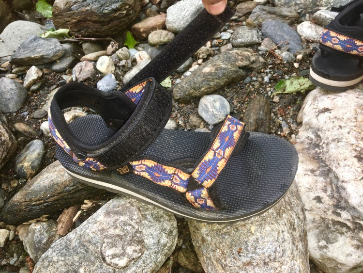 Teva Universal Trail Sandal chilling on a rock
