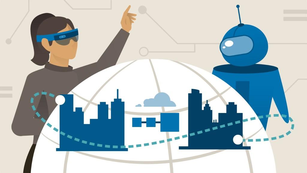 Desenho de mulher representando profissional 4.0, trabalhando em conjunto com um robô para desenvolver novas tecnologias