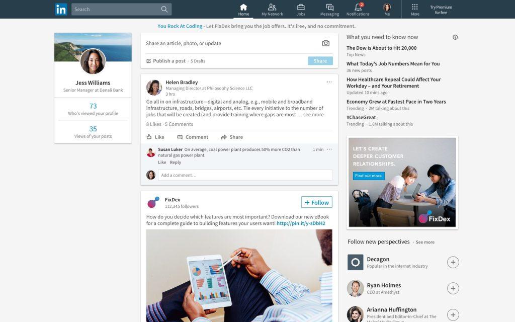 página inicial do linkedin redes sociais profissionais