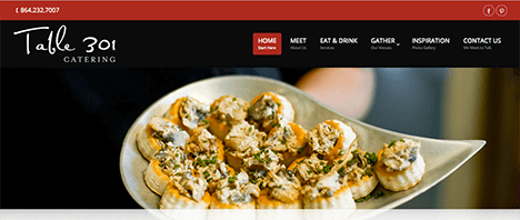 Table 301 Catering | Food & Restaurants Web Design Greenville SC