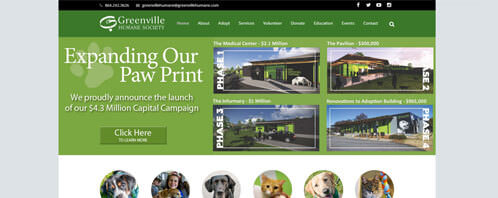 Greenville Humane Society | Nonprofits Web Design Greenville SC
