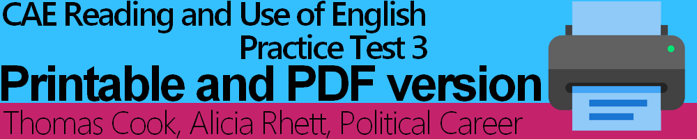 CAE Reading and Use of English Practice Test 3 Printable and PDF version