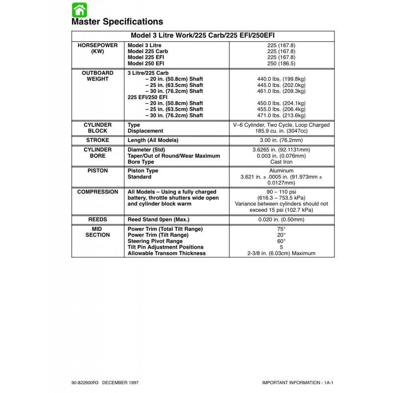 Manuel MERCURY 225hp 225hp EFI- 250hp EFI 3.0 Litre