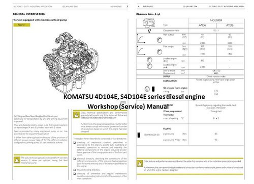 KOMATSU 104, 105, 106 series engine Manuals & Parts Catalogs