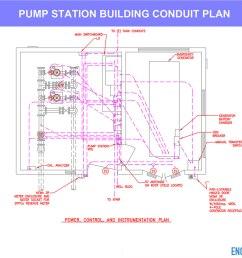 water pump station conduit plan layout drawing [ 1200 x 913 Pixel ]