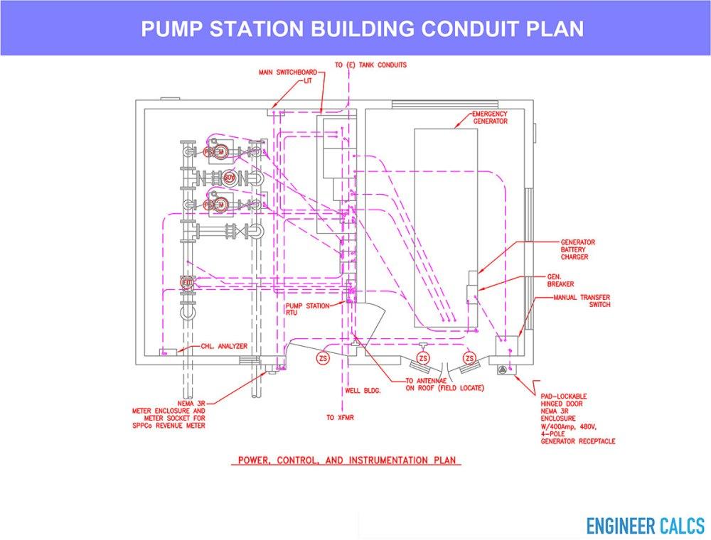 medium resolution of water pump station conduit plan layout drawing