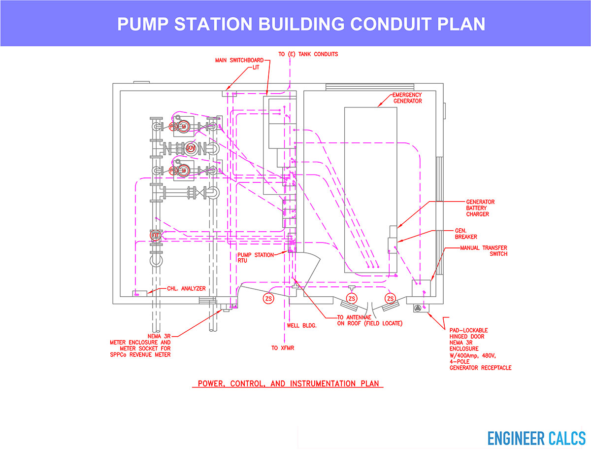 hight resolution of water pump station conduit plan layout drawing
