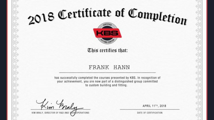 KBS Certified Fitting Center certificate