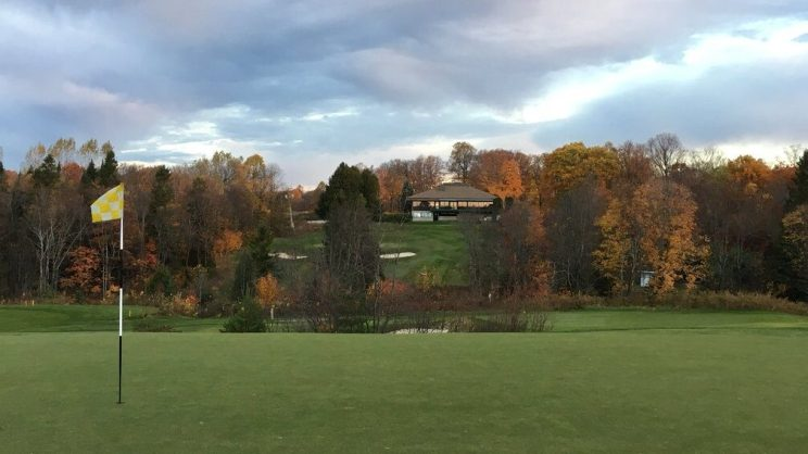 Pretty fall colours in view looking from #3 green northwards toward #18 green and the clubhouse.