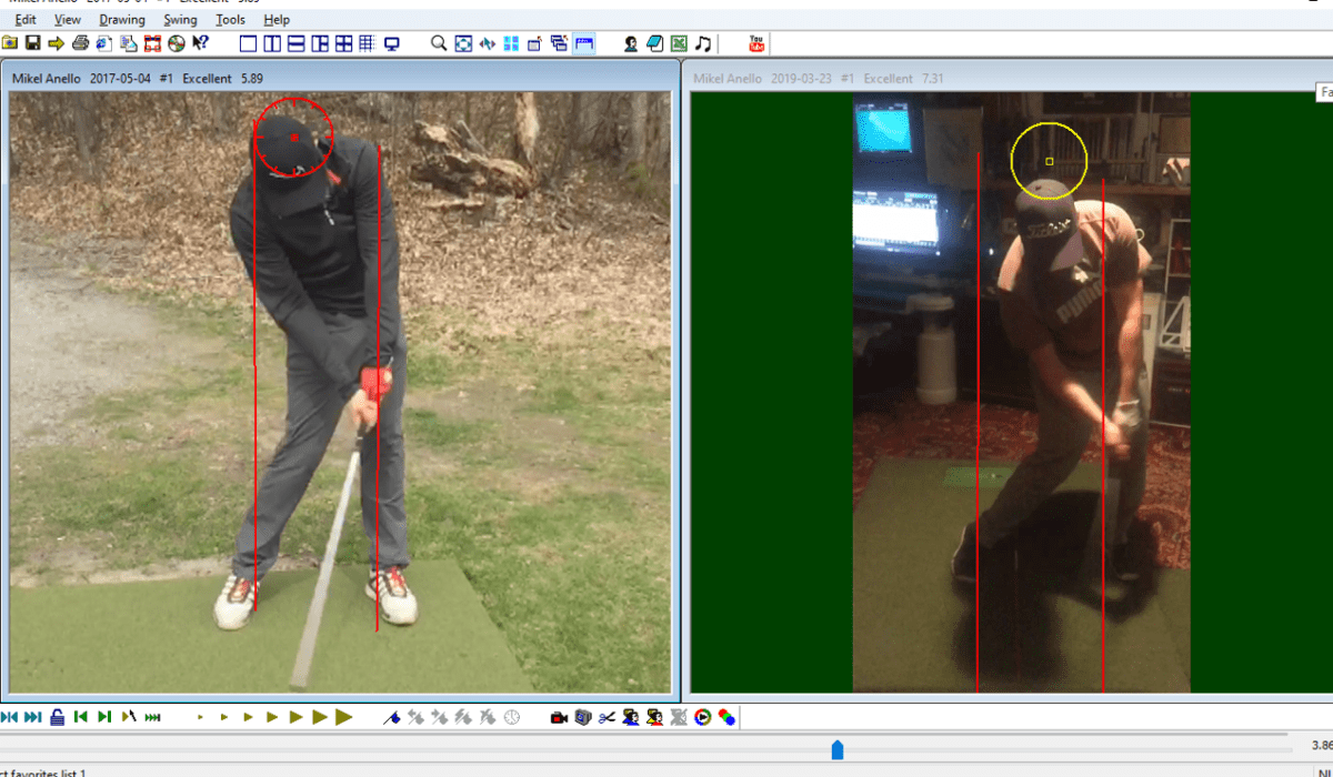 Swing Analysis comparison - side by side swings of two different golfers