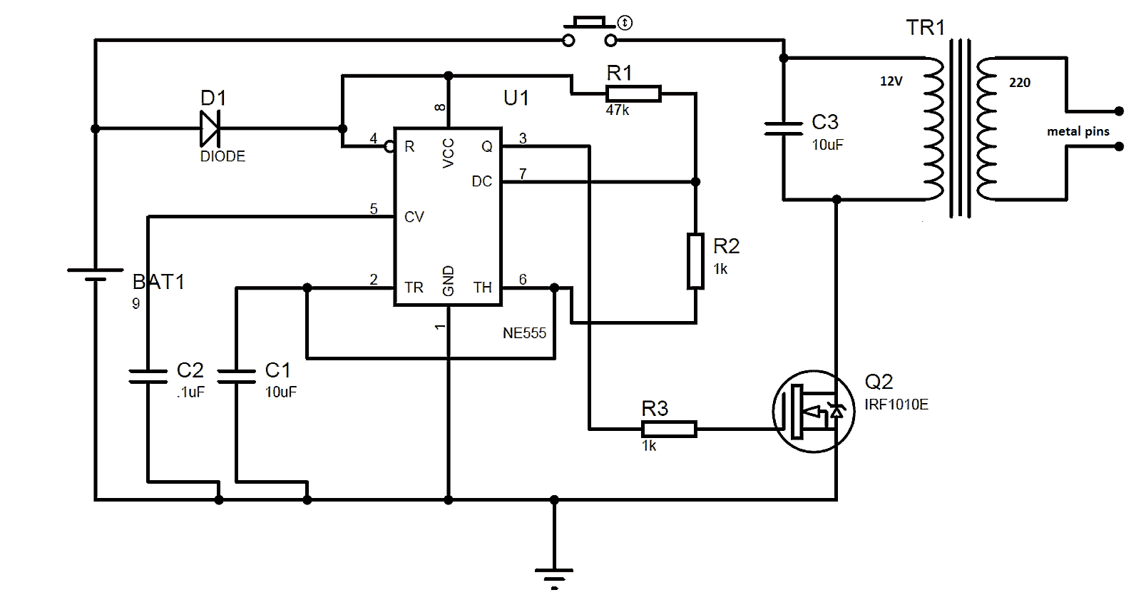taser circuit diagram honda accord radio wiring gun using 555 ic engineer experiences