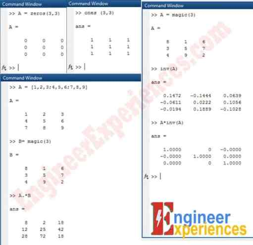 Zeros, Ones, Scalar Multiplication and inverse of matrix in MATLAB