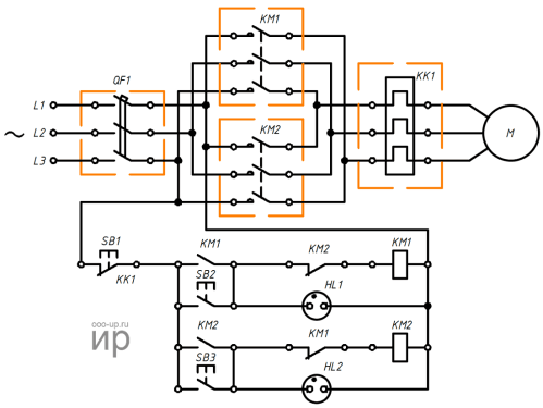small resolution of reversing connection a three phase induction motor to a three phase ac power grid wiring diagram