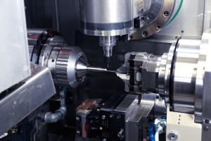 The working area of the seven-axis Bumotec s191H linear CNC turn-mill centre that was demonstrated at the AMRC with Boeing Centre
