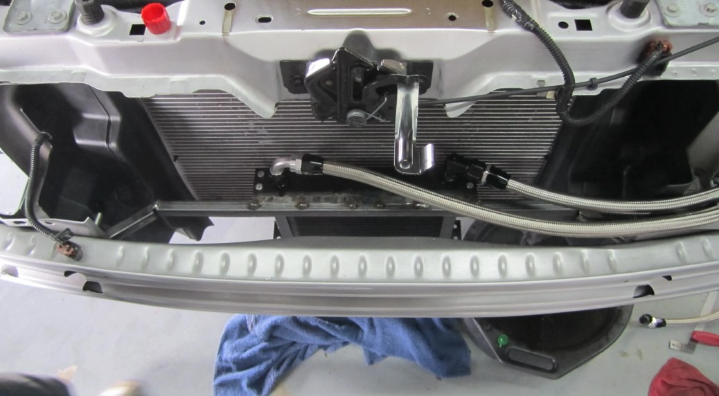 Oil cooler fully installed with lines