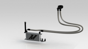 Rendering of Mishimoto oil cooler assembly