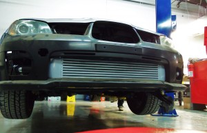Mishimoto prototype intercooler installed on Hawkeye