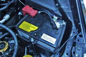Stock 2015 Subaru WRX battery tie-down