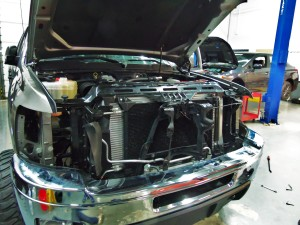 Test truck with Mishimoto intercooler and radiator installed