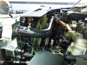 Mishimoto 6.7L Cummins radiator prototype installed with silicone radiator hoses