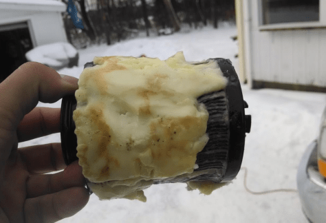 Gel clogged diesel fuel filter example