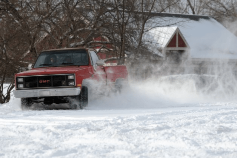 Truck doing donuts in snow