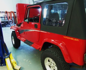 Jeep YJ in Mishimoto shop
