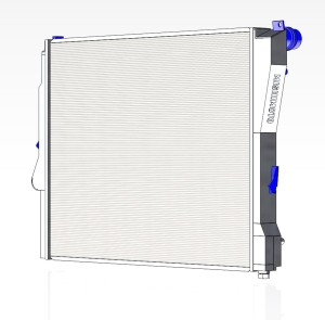 Mishimoto E46 3-series aluminum radiator 3D model, front view