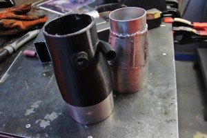 Inlet tube 3D prototype (left) and fabricated testing prototype (right)