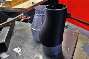 Inlet tube 3D prototype (right) and fabricated testing prototype (left)