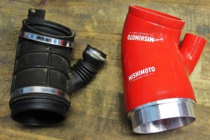 Mishimoto prototype throttle-body hose (right) and stock throttle-body hose (left)
