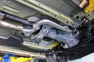 Mishimoto 2015 Mustang EcoBoost downpipe installed