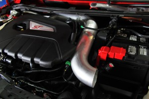 Prototype Ford Fiesta ST intake piping engine cover fitment