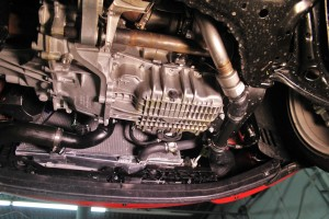 Stock Fiesta ST hot-side charge pipe assembly installed