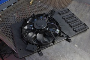 Stock Ford Fiesta ST radiator fan shroud assembly