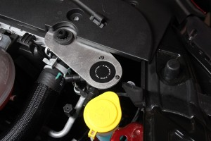 Mustang catch can prototype installed with stock mustang parts