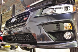 Mishimoto's 2015 WRX front-mount intercooler installed on the 2015 STI