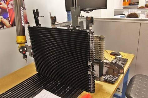 Factory 6.0 Powerstroke transmission cooler on CMM table