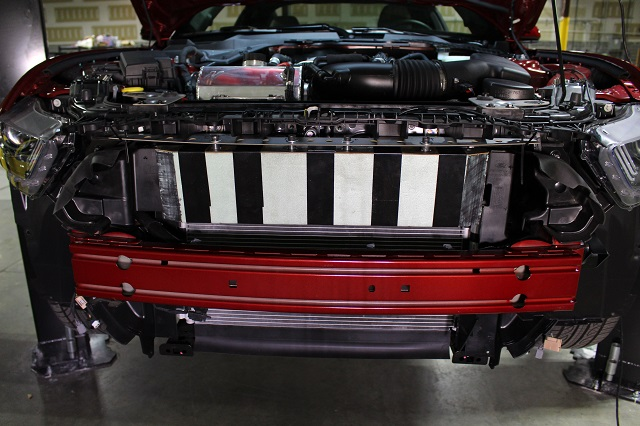 Mustang oil cooler prototype mounted on the GT